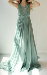 Colleen Long Muted Turquoise Green Chiffon Dress