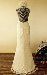 Straps Sheath Long Lace Wedding Dress With Flower And Illusion Back