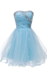 Lovely Strapless A-line Tulle Short Dress With Beadings