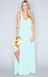 Chiffon Beach Floor-length Sheath V-neck Sleeveless Natural Waist Deep-V Back Dress