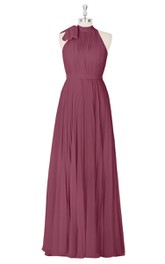 Pleated Sleeveless Floor Length A-Line Chiffon Dress With High Neck