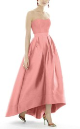 Satin High-low Ball Gown Dress with Pleats