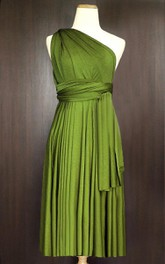 Short Straight Hem Olive Bridesmaid Convertible Infinity Multiway Wrap Dress