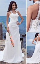 Sheath Column Halter Court Train Chiffon Wedding Dress