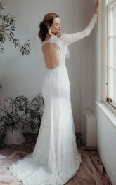 Lace Plunging V-neck Sexy Sheath Bridal Gown With Long Sleeves And Keyhole Back