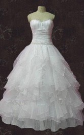 Sweetheart Lace-Up Back Organza Wedding Dress With Crystal Detailing And Ruffles