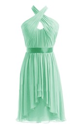 Halter Pleated Chiffon Short Dress With Satin Band