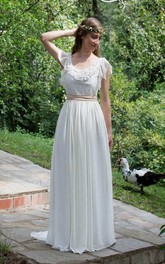 V-Neck Poet-Sleeve Chiffon Pleated Wedding Dress With Appliques And Flower