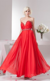 Chiffon Plunged Maxi Gown with Beading and Pleats