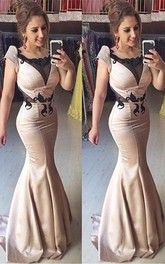 Sexy Cap Sleeve Mermaid Prom Dress Sweep Train