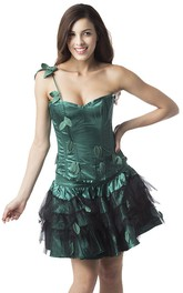 One Shoulder Green And Black Corset Dress With Leaves Appliques And Tiers