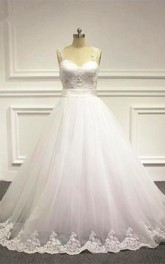 Sleeveless A-line Tulle Wedding Dress With Beading And Illusion Back