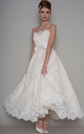 Ankle-Length A-Line Appliqued Strapless Lace Wedding Dress With Bow