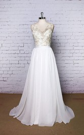 V-Neck Sleeveless Chiffon Wedding Dress With Golden Lace Bodice