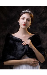 Black Fancy Short Bridal Shawl For Fall/Winter