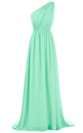 Chic One-shoulder Pleated Chiffon A-line Gown With Train