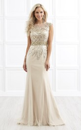 Sheath Scoop-Neck Cap-Sleeve Jersey Tulle Illusion Dress With Beading