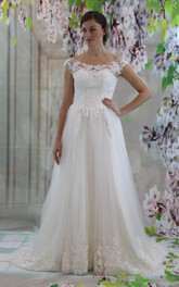 Boat Neck Cap Sleeve A-Line Tulle Wedding Dress With Lace Bodice