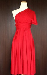 Short Red Convertible Wrap Wedding Maid Of Honor Dress