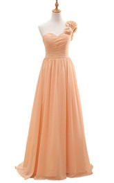 One-shoulder A-line Chiffon Dress With Flowers