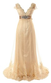 Cap Sleeve Low V Neck A-line Lace Gown With Beaded Belt