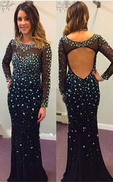 Sexy Black Long Sleeve Prom Dresses 2018 Crystals Long