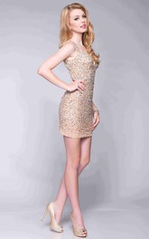 Form-Fitted Sleeveless Keyhole Back Short Sequined Prom Dress