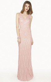 V Neck Sheath Chiffon Long Prom Dress With Sequins And Illusion Back Shown In Blush