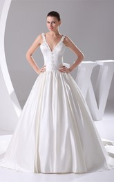 Plunged Pleated Ball Gown with Beading and Corset Back