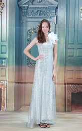 sequined ankle-length one-shoulder dress with flower