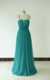 Floor-length Spaghetti Strapped Tulle Dress With Flowers