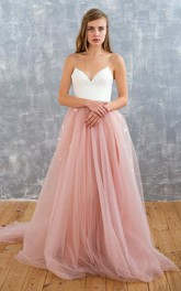 Spaghetti A-Line Tulle Backless Dress With Beaded Waist