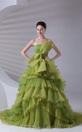 Strapless Tiered A-Line Ball Gown with Ruffles and Bow