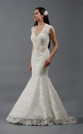 Alencon Lace Mermaid Wedding Dress With Keyhole Back and Flowers