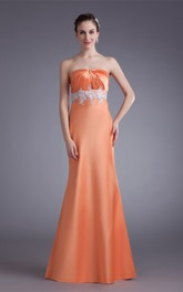 satin sheath strapless dress with appliqued waist