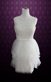 Sleeveless Sheath Short Tulle Wedding Dress With Sash And Jewel Neck