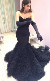 Modern Black Ruffles Mermaid 2018 Prom Dress Sweetheart Sweep Train