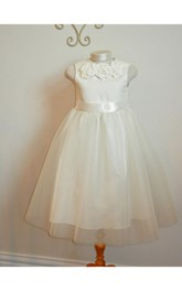 Shabby Chic Sleeveless Flower Jewel Neck Girl Dress With Tulle Overlay Skirt