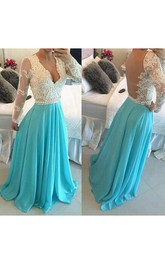 A-line Princess V-neck Chiffon Long Sleeves Applique Sweep Brush Train Dresses