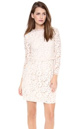 High Neckline Sheath Lace Short Dress With Long Sleeves