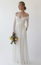 Off-the-shoulder Illusion Long Sleeve A-line Wedding Dress in Floor-length With Pockets And Ruching