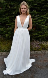 Backless Chiffon Satin Weddig Dress With Pleats Sequins