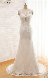 Long Sheath Lace Wedding Dress With Beading And Ruching