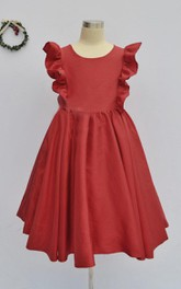 Ruffled Short Sleeve Taffeta Dress With Flower