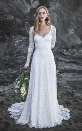 Long Sleeve Sexy A-line Lace Wedding Dress With V-neck And Keyhole