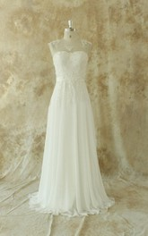 Jewel Sleeveless Low-V Back Long Chiffon Wedding Dress With Sash And Appliques