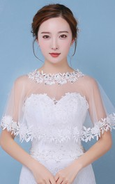 New Spring and Summer Lace Cape Rhinestone White Shawl