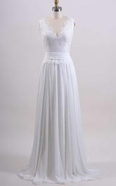 Chiffon Tulle Satin Lace Low-V Back Wedding Dress