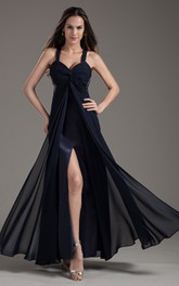 Vibrant Sleeveless Front Long Dress With Crystal Detailings