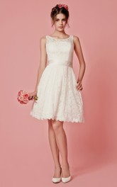 Sleeveless A-Line Lace Short Dress With Scoop Neckline